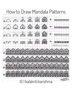 "Karishma Srivastava | Mandala on Instagram: ""📝Pattern Sheet- 17📝 Tutorial: How to Draw Mandala Patterns Slide 1: Pattern 1 and 2 Slide 2: Pattern 3 and 4 Slide 3: Step-by-step…"" Mandala Art Lesson, Mandala Doodle, Mandala Artwork, Doodle Patterns, Zentangle Patterns, Zentangles, Doodle Art Drawing, Mandala Drawing, Mandala Pattern"