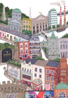 My Fair City — Rachel Corcoran Illustration Dublin Library, Dublin Map, Dublin Travel, Dublin Castle, Dublin City, Dublin Food, Dublin Street, Ireland Travel, Ireland Pubs