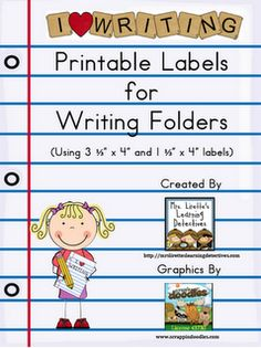 Printable Labels for Writing Folders {Free} by Mary Lirette 1st Grade Writing, Work On Writing, Kindergarten Writing, Teaching Writing, Writing Activities, Teaching Resources, Teaching Ideas, Writing Ideas, Kids Writing