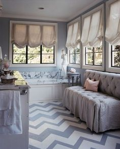 dove grey walls, painted chevron floor and carrera marble bath surround Floor Design, House Design, Chevron Floor, Gray Chevron, Painted Concrete Floors, Concrete Porch, Black Window Frames, Devine Design, Beautiful Bathrooms