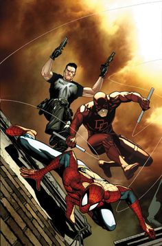 Spider-Man, Punisher & Daredevil by Steve McNiven. - Living life one comic book at a time.