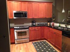 Kitchen.  Paint, Benjamin Moore, Ashley Gray, HC-87.  Rugs, Ballard Design. Kitchen Paint, Kitchen Cabinets, Ashley Gray, Ballard Designs, Decorating Small Spaces, Big Houses, Benjamin Moore, Paint Colors, Condo