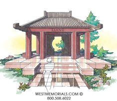 Discover our beautiful bird granite mausoleum design featuring a gorgeous floral arrangement and a bronze decorative door. 2017 Design, Poster Ideas, Beautiful Birds, Granite, Stained Glass, Gazebo, Outdoor Structures, Memories, Statue