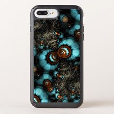 Retro Chic Brown Aqua Turquoise Fractal Pattern Speck iPhone Case - marble gifts style stylish nature unique personalize