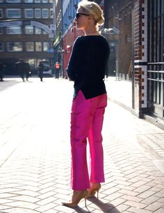 Making a statement in pink Michael Kors pants at http://www.elleuk.com