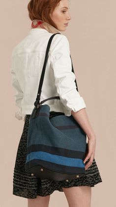 The Medium Ashby in Overdyed Canvas Check and Leather Ultramarine Blue    Burberry · Leather Tote BagsLeather ... 39c1dd7eb3