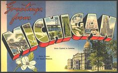 1940s Large Letter Greetings from Michigan State Vintage Postcard