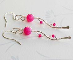 Silver Wire Wrap Fuchsia Mosaic Crystal Curve Earrings