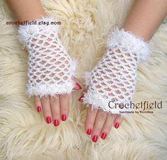 White Crochet Mittens Fingerless Gloves Lace Hand by Crochetfield
