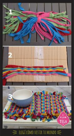 cool rag rug tooWeave Fun Summer Placemats With T-Shirt Yarn! This is the weaving my daughter has been working on using the scraps left over after I used a bunch of t-shirts to make some yarn. Now I'm no weaving expert, but this little project.Cook outs s Kids Crafts, Yarn Crafts, Fabric Crafts, Diy And Crafts, Arts And Crafts, Weaving Projects, Craft Projects, Tapetes Diy, Tshirt Garn