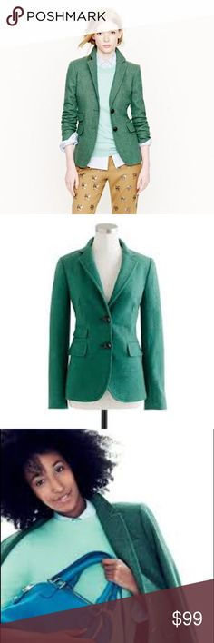 J. CREW Hacking Jacket Blazer Herringbone Green J. CREW Hacking Jacket Blazer Herringbone Green Dust Jade, size 12 Tall. Gorgeous Herringbone green color. 100% wool. Hits below hips, notch collar, functional buttons at cuffs, flap pockets, back vent. Inspired by British riding jackets. It has a longer, leaner silhouette with a nipped in waist for a flattering effect. J. Crew Jackets & Coats Blazers