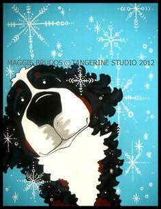 snow winter  whimsical dog art holiday bernese by tangerinestudio, $95.00