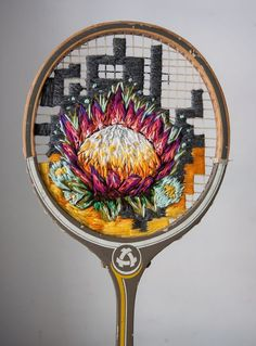 This upcycled tennis racket art by Danielle Clough is just brilliant. Danielle uses the tennis rackets as a canvas for her embroidered art. Badminton, Vintage Tennis, Colossal Art, Floral Embroidery, Embroidery Ideas, Hand Embroidery, Embroidery Stitches, Machine Embroidery, Embroidered Flowers