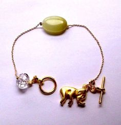 The Genuine Jade And Elephant Charm Bracelet  by CharmingChainsShop, $23.00