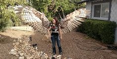 A Giant Pair of Pneumatic Articulating Feather Wings