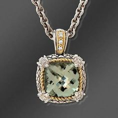 Andrea Candela Green Amethyst Pendant Necklace With Diamonds in Two-Tone. >>Click on the Amethyst Necklace to browse similar styles at Ross-Simons.