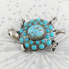 Silver Tone Turtle Brooch  Turquoise Color Brooch  by PylonVintage