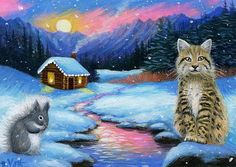 Bobcat squirrel wildlife cabin Christmas snow moon original aceo painting art #Miniature
