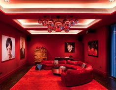 The lighting design studio; Basement lighting with coffer detail. Painted red