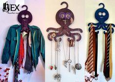 Hex : Gancho Pulpo (ropa, joyeria, cinturones, corbatas) - Kichink! Hangers, Wind Chimes, Dream Catcher, Outdoor Decor, Home Decor, Style, Fashion, Octopus, Ties