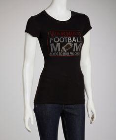 Black 'Warning Football Mom' Tee - Women & Plus