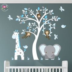 Enchanted Interiors Premium Self Adhesive Fabric Nursery Wall Art Stickers Jungle Wall Decals featuring a Safari Tree, Swinging Monkeys, a Giraffe and Elephant. Blue and Grey Nursery Room Decor