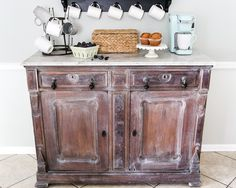 White Waxed Marble Top Coffee Bar Makeover   blesserhouse.com - An old, damaged marble topped buffet gets a clean up and white wax makeover. http://www.blesserhouse.com/2017/08/white-waxed-coffee-bar-makeover.html