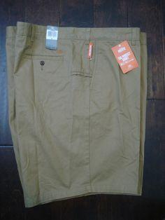 NWT Dockers Shorts TAN Flat Front Perfect Short Smart Phone Pocket Mens 56  #DOCKERS #KhakisChinos