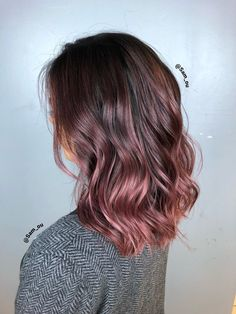 Photo of No 1 Salon - Chicago, IL, United States. Hair color by Balayage Hair, Ombre Hair, Brown And Pink Hair, Rose Gold Hair Brunette, Cabelo Rose Gold, Coiffure Hair, Gorgeous Hair Color, Dyed Hair, Hair Dye Colors
