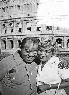 Louis Armstrong and wife Lucille in Italy, 1959.