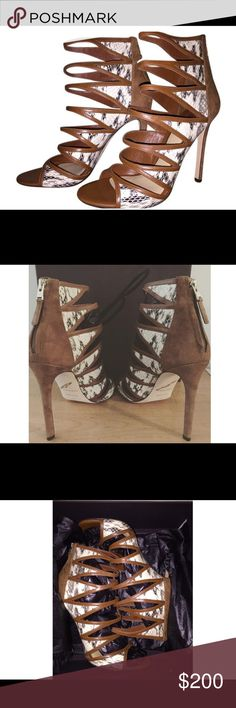 B Brian Atwood Lynnden Cage Only worn once Lynnden cage brown multi sandals. B Brian Atwood Shoes Heels