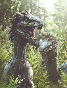 Showcase of Modern Paleoart: 60 Fearsome Dinosaur Illustrations & Renders Velociraptors by Soufiane Idrassi Prehistoric World, Prehistoric Creatures, Dinosaur Fossils, Dinosaur Art, Real Dinosaur, Dinosaur Crafts, Iron Maiden Aces High, Jurassic Park World, Extinct Animals