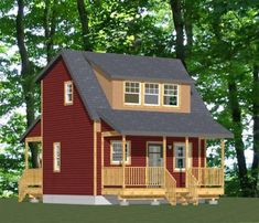 Cabin Plans With Loft, Small Cabin Plans, Cabin Loft, Cabin House Plans, Cabin Floor Plans, Tiny House Cabin, Cabin Homes, Tiny House Plans, Garage Plans