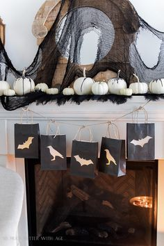 black Halloween mantel decor- cloth from Oriental Trading Co