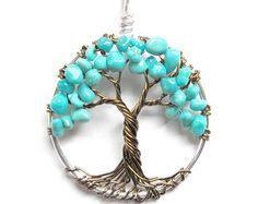 Turquoise amitié arbre collier arbre de vie par HomeBabyCrafts