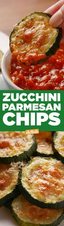 These zucchini parmesan chips are giving potato chips a healthy makeover. Get the recipe from http://Delish.com.