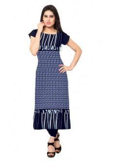 Casual Wear Readymade Blue Crepe Kurti - 148