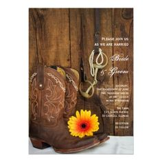 Invite your friends and family to your upcoming rural nuptials with the charming Boots, Daisy and Horse Bit Country Wedding #Invitation. This pretty custom shabby chic wedding invite features a quaint floral photograph of a pair of  #cowboy #boots, yellow and orange daisy flower blossom, pearl necklace, horse bit and leather reins with a barn wood background. Perfect for a casual yet classy rural #country #farm, #rustic #barn, ranch, #equestrian, #horse or #western #wedding theme…