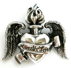 WING FLAME HEART TATTOO 925 STERLING SILVER MEN PENDANT