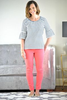 Striped bell sleeve top, bright jeans and gold flats. Stay at home mom outfits. SAHMonday: Striped Bell Sleeves and Colored Denim http://getyourprettyon.com/sahmonday-striped-bell-sleeves-colored-denim/?utm_campaign=coschedule&utm_source=pinterest&utm_medium=Alison%20Lumbatis%20%7C%20Get%20Your%20Pretty%20On&utm_content=SAHMonday%3A%20%20Striped%20Bell%20Sleeves%20and%20Colored%20Denim