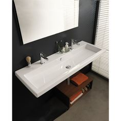 Bathroom Sink, Tecla CAN05011B, Rectangular White Ceramic Wall Mounted or Built-In Sink CAN05011B
