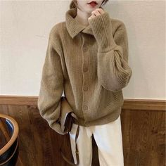 High collar sweater women's loose single breasted long sleeve knitted cardigan coat Cool Sweaters, Sweaters For Women, Sweater Outfits, Men Sweater, Order Checks, High Collar, Single Breasted, Knit Cardigan, Bodycon Dress