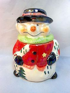 """Snowman Candy Treat Jar Christmas Holiday Cookie Frosty Ceramic Winter 5.5"""" T"""