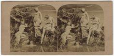 Les Grenouilles aun bain. Par estereoscópico. Copia a la albúmina. Archivo fotográfico. Colección de postales. http://bvirtual.bibliotecas.csic.es/primo_library/libweb/action/dlDisplay.do?vid=csic&docId=csicalepharc000088131&fn=permalink