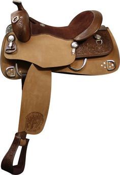 "$424.99. This saddle features rough out bottom skirt, fenders, and jockeys. Fenders are accented with contrasted floral tooling. Top skirt, pommel,cantle and stirrups feature basket weave and floral tooling. Saddle is equipped with large D rings on both front and back of bottom skirts. Smaller D rings on pommel and top skirts.    Model:  02816 Seat:  16"" Suede Leather Bars:  *Full Quarter horse Swell: 13"" Gullet: 7"" Horn:   3"" Cantle: 3 1/2"" Skirts:  14 1/2"" x 28"""