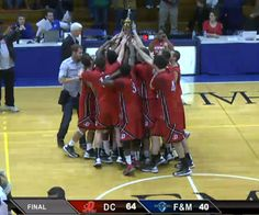 A proud moment for Dickinson Athletics, captured just as our 2013 Centennial Conference Champion Men's Basketball team was handed their trophy! A 64-40 win over Franklin & Marshall will be one for the record books! Congrats! #Basketball