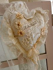 Heart for a Valentine  Old lace, beads, ribbons, blossoms