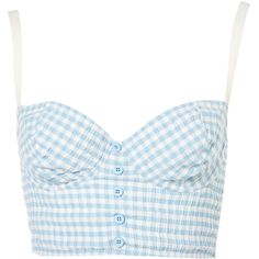 Pastel Gingham Bralet (75 BRL) ❤ liked on Polyvore featuring tops, shirts, crop tops, bralet, button front top, crop shirt, pastel crop top, bralette tops and pastel shirts