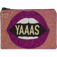 I KNOW THE QUEEN Yaaas glitter clutch ($81) ❤ liked on Polyvore featuring bags, handbags, clutches, glitter handbags, purple handbags, purple purse, glitter purse and glitter clutches