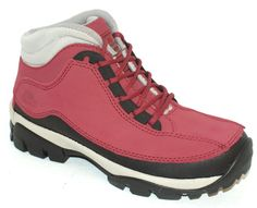 Womens ET Safety Lace Up Black and Pink Real Leather Safety Toecap Work Boots
